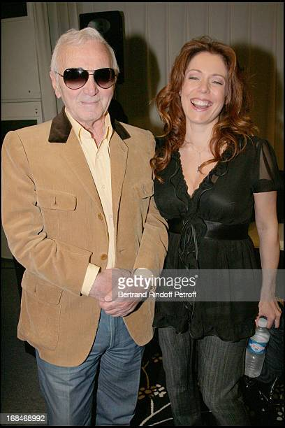 Charles Aznavour and Isabelle Boulay at The Celine Dion Concert At Bercy