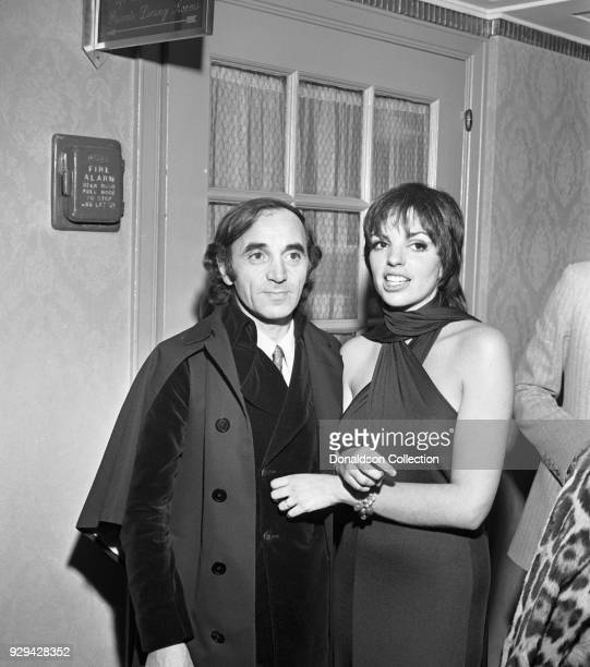 Charles Aznavour and Liza Minnelli at a Liza Minnelli party at the Waldorf on February 2 1970 in New York New York