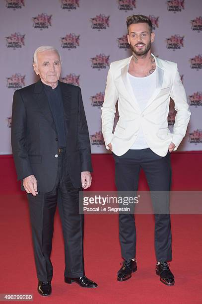 Charles Aznavour and MPokora attend the 17th NRJ Music Awards at Palais des Festivals on November 7 2015 in Cannes France