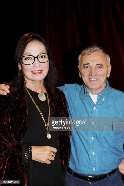 Charles Aznavour and Nana Mouskouri in studio