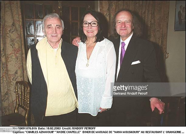 """Charles Aznavour """"Andre Chapelle"""" """"Nana Mouskouri"""" wedding dinner at the restaurant """"L'Orangerie"""" in Paris."""