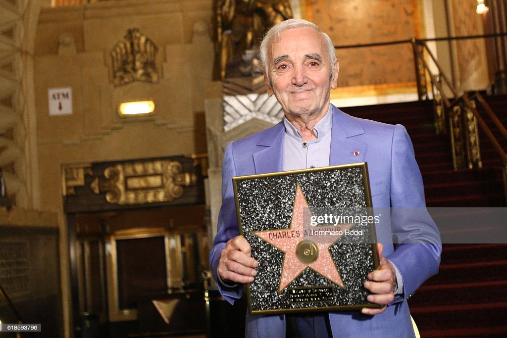 Charles Aznavour Awarded Honorary Walk Of Fame Plaque By Senator Kevin De Leon at the Pantages Theatre on October 27, 2016 in Hollywood, California.