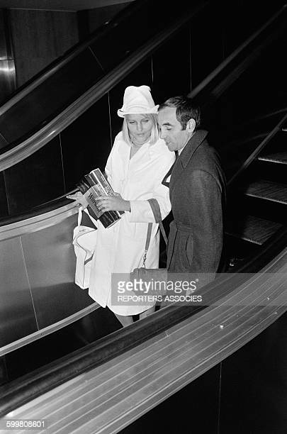 Charles Aznavour Back From The United States With New Girlfriend Ulla at Paris Orly Airport in Paris France on October 12 1964