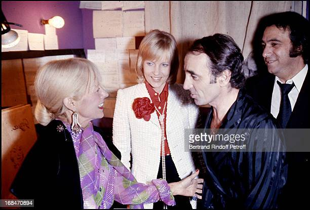 Charles Aznavour his wife Ulla and brotherinlaw composer Georges Garvarentz at Charles Aznavour Concert At The Olympia In Paris 1972