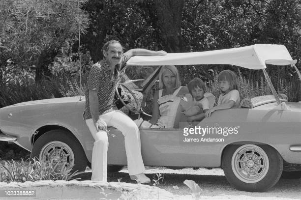 Charles Aznavour his wife Ulla Thorsell with their daughter Katia and son Mischa in StTropez 15th July 1975