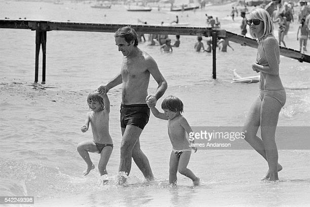 Charles Aznavour his wife Ulla with their daughter Katia and son Misha go swimming at Pampelone beach StTropez