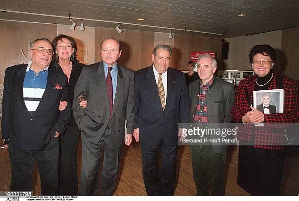 Charles Aznavour Jacques Toubon Yves Mourousi Lise Toubon Claude Simonet at The Palais Des Congres In Paris