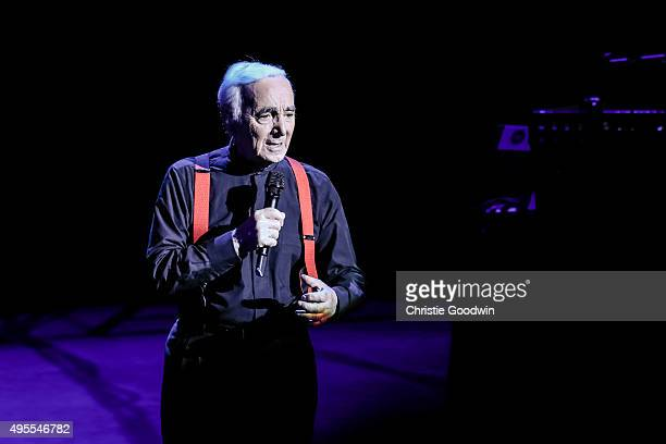 Charles Aznavour performs on stage at the Royal Albert Hall on November 3 2015 in London England At 91 years old Aznavour becomes the oldest artist...