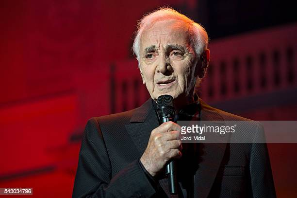 Charles Aznavour performs on stage during Festival Jardins Palau de Pedralbes at Jardins Palau de Pedralbes on June 25 2016 in Barcelona Spain