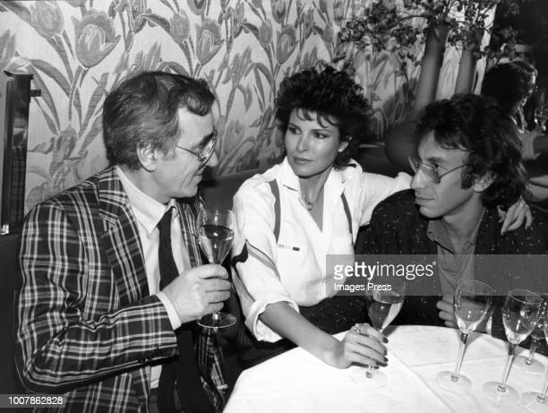 Charles Aznavour Raquel Welch and A Weinfeld circa 1984 in New York