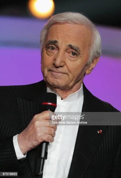 Charles Aznavour receives award during the 25th Victoires de la Musique at Zenith de Paris on March 6 2010 in Paris France