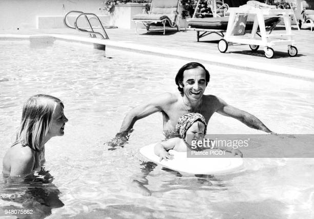 Charles Aznavour Ulla and daughter Katia holidays in La Napoule