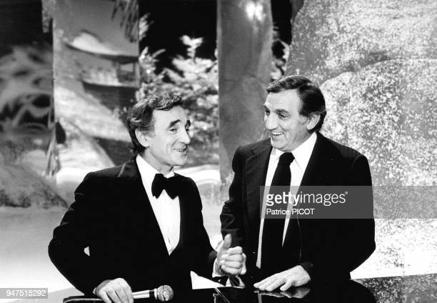 Charles Aznavour with Lino Ventura on a TV show 1979