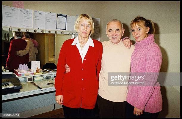 Charles Aznavour with wife Ulla and daughter Katia at theCharles Aznavour Last Concert At Palais Des Congres In Paris In 2000