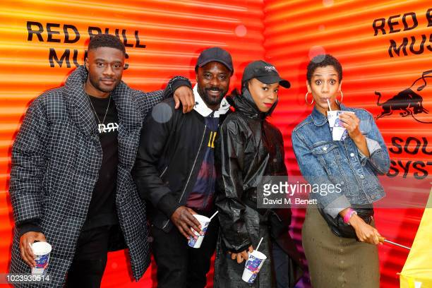 Charles Babalola guest Pippa BennettWarner and Dominique Tipper attend the Red Bull Music Academy Sound System at Notting Hill on August 26 2018 in...