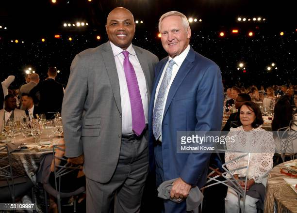 Charles Barkley and Jerry West pose during the 2019 NBA Awards presented by Kia on TNT at Barker Hangar on June 24 2019 in Santa Monica California