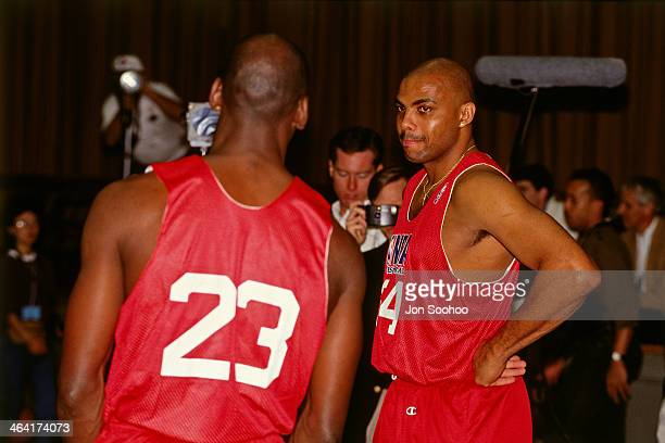 Charles Barkley and Michael Jordan of the Eastern Conference All Stars talk during NBA AllStar Practice as part of the 1991 All Star Weekend on...