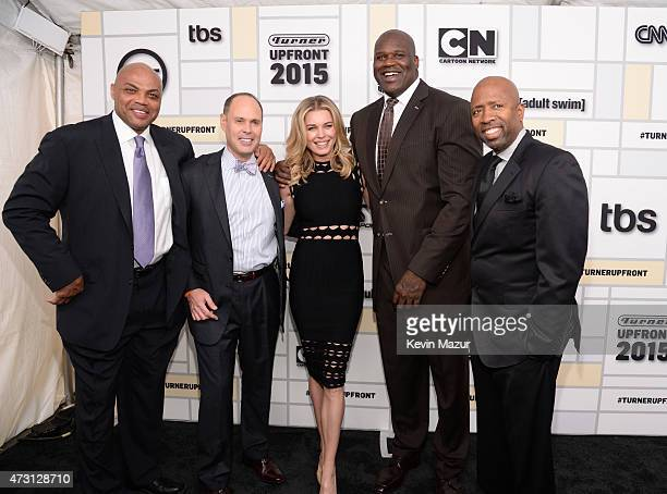 Charles Barkley Ernie Johnson Rebecca Romijn Shaquille O'Neal and Kenny Smith attend the Turner Upfront 2015 at Madison Square Garden on May 13 2015...