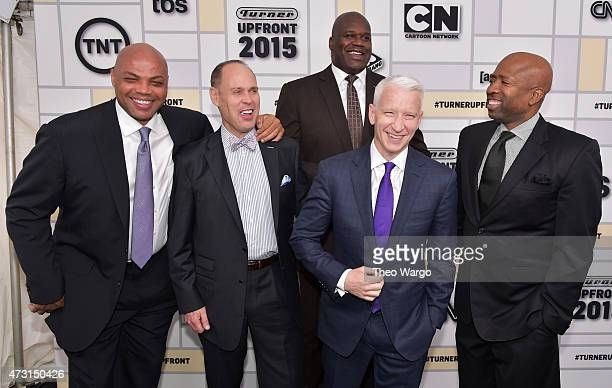 Charles Barkley Ernie Johnson Shaquille O'Neal Anderson Cooper and Kenny Smith attend the Turner Upfront 2015 at Madison Square Garden on May 13 2015...