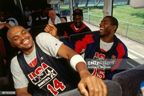 Charles Barkley Michael Jordan and Magic Johnson of the United States talk on the team bus during the 1992 Summer Olympics in Barcelona Spain NOTE TO...