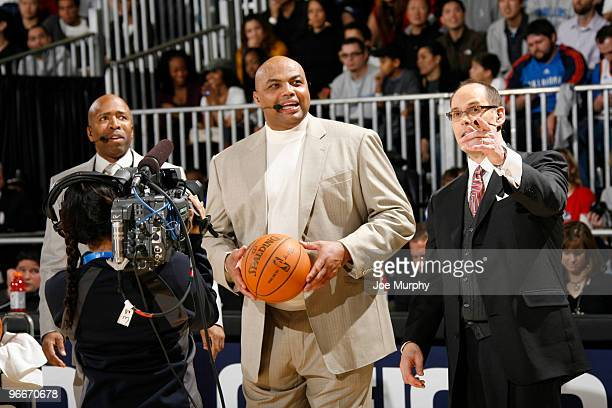 Charles Barkley NBA Legend and Ernie Johnson of TNT talk during HORSE presented by Geico on center court at Jam Session presented by Adidas during...