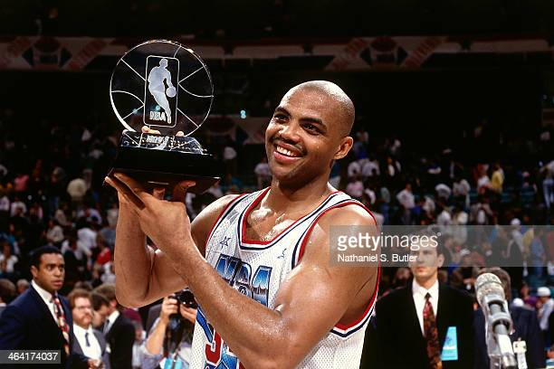 Charles Barkley of the Eastern Conference AllStars poses with the MVP trophy during the 1991 All Star Game on February 10 1991 at the Charlotte...