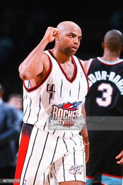 Charles Barkley of the Houston Rockets during the game against the Vancouver Grizzlies on December 6 1999 at Compaq Center in Houston Texas
