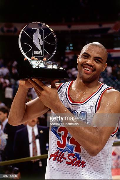 Charles Barkley of the Philadelphia 76ers poses with his AllStar MVP award after the 1991 NBA AllStar Game played February 10 1991 at the Charlotte...