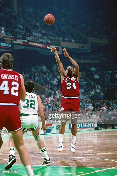Charles Barkley of the Philadelphia 76ers shoots against Kevin McHale of the Boston Celtics during a game played in 1988 at the Boston Garden in...