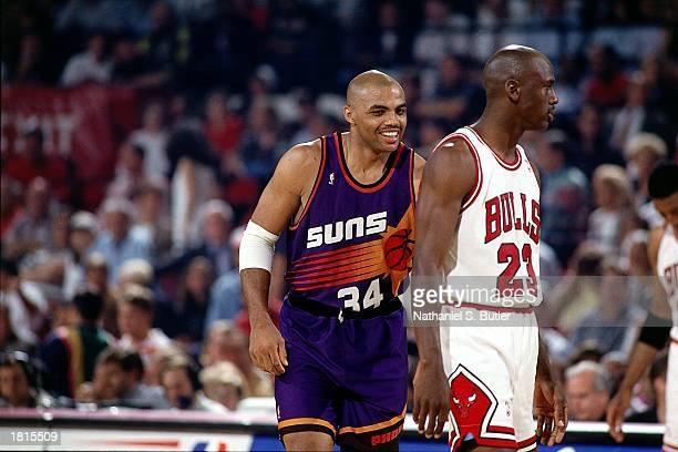 Charles Barkley of the Phoenix Suns and Michael Jordan of the Chicago Bulls during Game Three of the 1993 NBA Championsip Finals at Chicago Stadium...