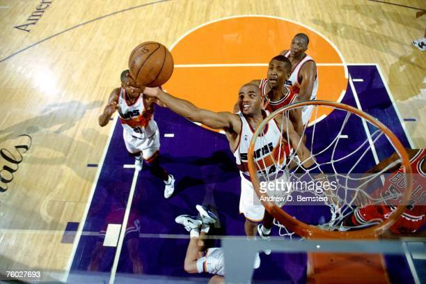 Charles Barkley of the Phoenix Suns attempts a layup against the Chicago Bulls in Game Two of the 1993 NBA Finals on June 11, 1993 at the America...