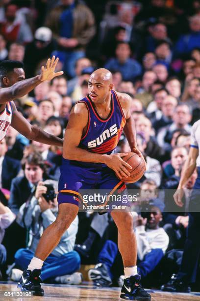 Charles Barkley of the Phoenix Suns posts up against the New York Knicks during a game played circa 1993 at the Madison Square Garden in New York...