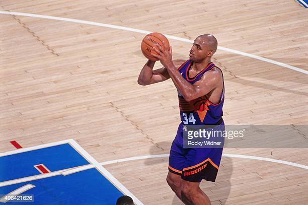 Charles Barkley of the Phoenix Suns shoots a foul shot against the Sacramento Kings circa 1993 at Arco Arena in Sacramento California NOTE TO USER...