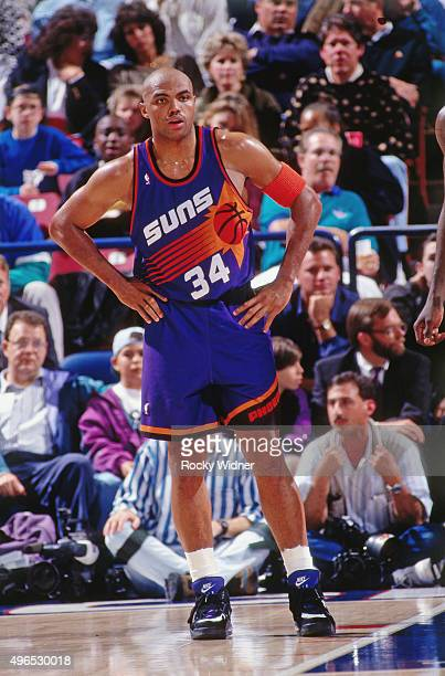 Charles Barkley of the Phoenix Suns stands against the Sacramento Kings circa 1993 at Arco Arena in Sacramento California NOTE TO USER User expressly...