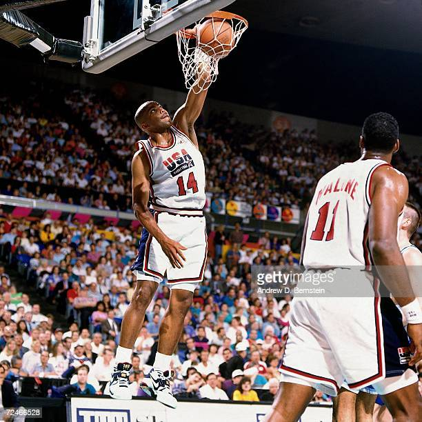 Charles Barkley of the United States National Team elevates for a dunk during the1992 Summer Olympics in Barcelona Spain NOTE TO USER User expressly...