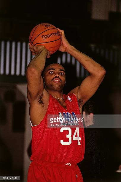 Charles Barkley of the Western Confernce AllStars shoots the ball during NBA AllStar Practice as part of the 1991 All Star Weekend on February 9 1991...