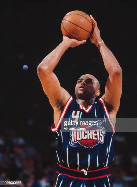 Charles Barkley, Power Forward and Small Forward for the Houston Rockets prepares to shoot a free throw during game 2 of the NBA Western Conference...