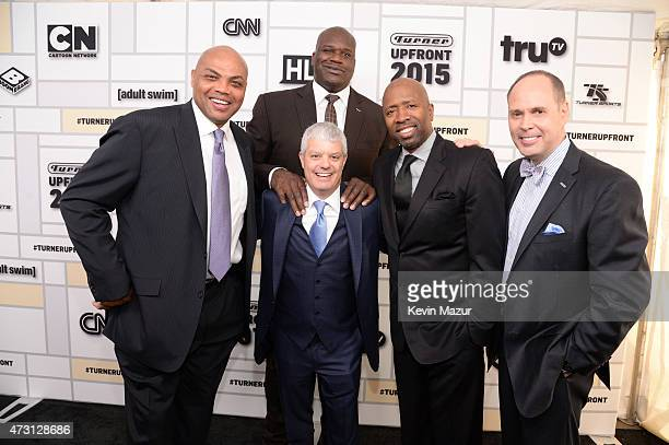 Charles Barkley Shaquille O'Neal David Levy President TBS Inc Kenny Smith and Ernie Johnson attend the Turner Upfront 2015 at Madison Square Garden...