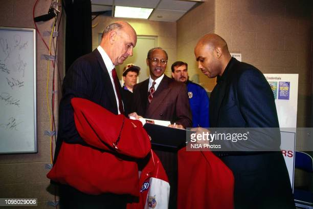 Charles Barkley signs autograph during the NBA at 50 Event on February 7 1997 as a part of NBA AllStar Weekend 1997 at the Gund Arena in Cleveland...