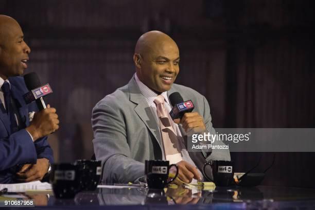 Charles Barkley speaks during the 2018 Brand Jordan NBA AllStar Uniforms AllStar Rosters Unveiling show on January 25 2018 at CBS Studios in Studio...