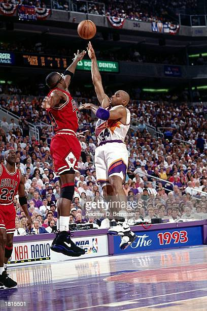 Charles Barkley the Phoenix Suns takes a hook shot against the Chicago Bulls during Game Six of the 1993 NBA Championship Finals at America West...