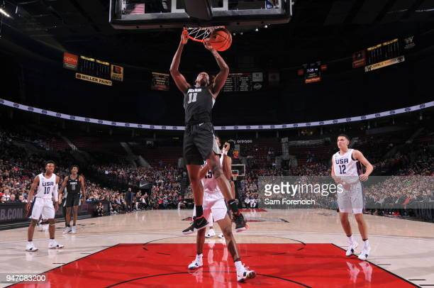 Charles Bassey of Team World dunks the ball against Team USA during the Nike Hoop Summit on April 13 2018 at the MODA Center Arena in Portland Oregon...