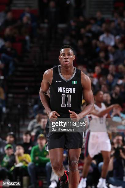 Charles Bassey of Team World runs up court against Team USA during the Nike Hoop Summit on April 13 2018 at the MODA Center Arena in Portland Oregon...