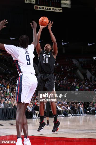 Charles Bassey of Team World shoots the ball against Team USA during the Nike Hoop Summit on April 13 2018 at the MODA Center Arena in Portland...