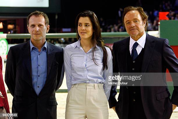Charles Behrling, Charlotte Casiraghi and Guillaume Durand attend the International Gucci Masters Competition - Day 4 at Paris Nord Villepinte on...