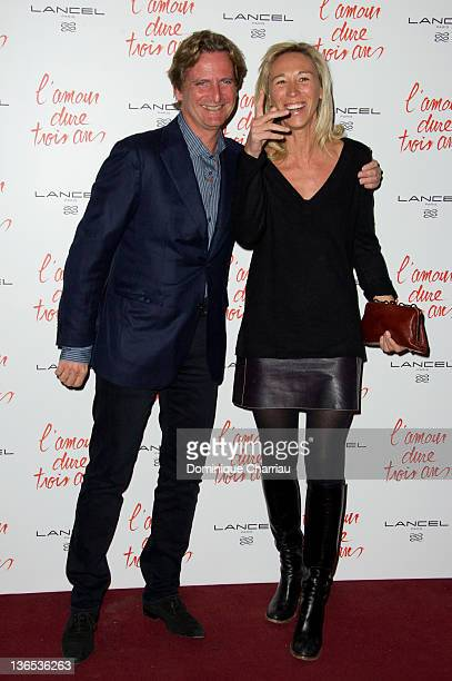 Charles Beigbeder and his wife Carine attend 'L'Amour Dure Trois Ans' Paris Premiere at Le Grand Rex on January 7 2012 in Paris France