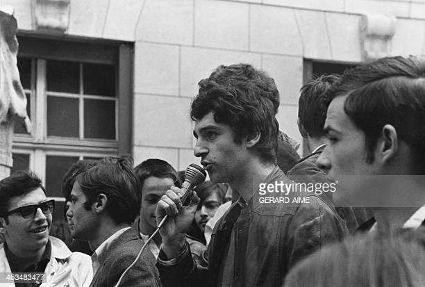 Charles Berg Jacques Sauvageot Henri Weber and JeanMarcel Bourguereau during a speech in the courtyard of the Sorbonne University in Paris France on...