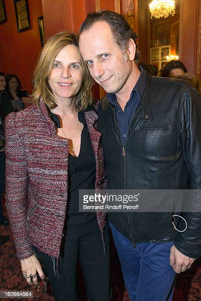 Charles Berling and his wife Virginie CouperieEiffel pose following the 200th performance of the play Inconnu A Cette Adresse at Theatre Antoine on...