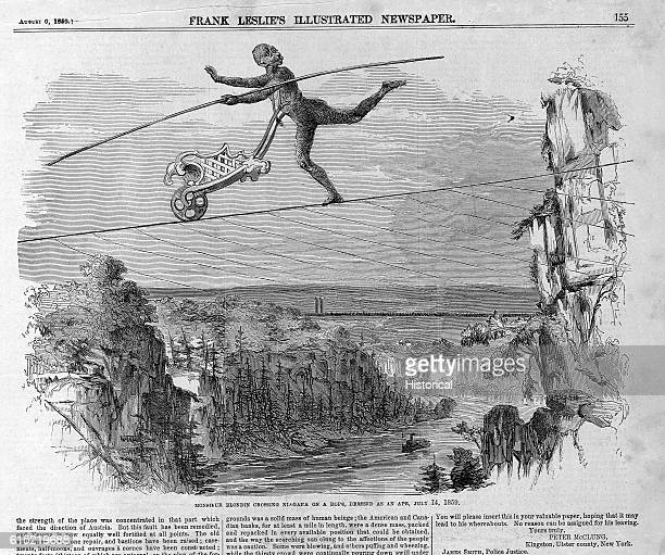 Charles Blondin crosses Niagara Falls on a rope while wearing a monkey costume and pushing a wheelbarrow. This was Blondin's third crossing of the...