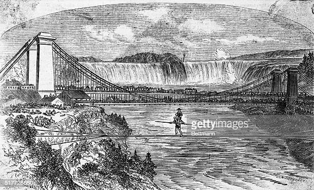 Charles Blondin crossing Niagara River on a tight rope, 1859. Woodcut.